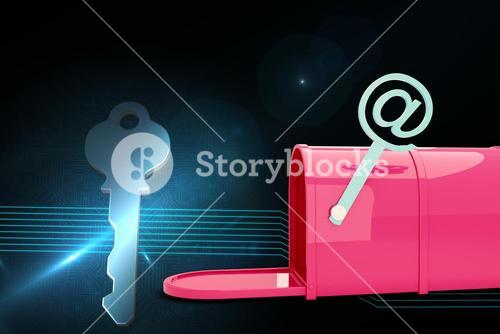 Composite image of red email post box