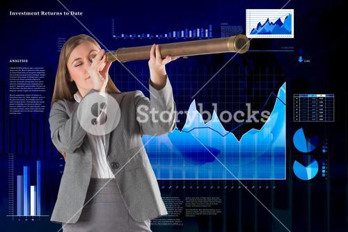 Composite image of businesswoman looking through a telescope