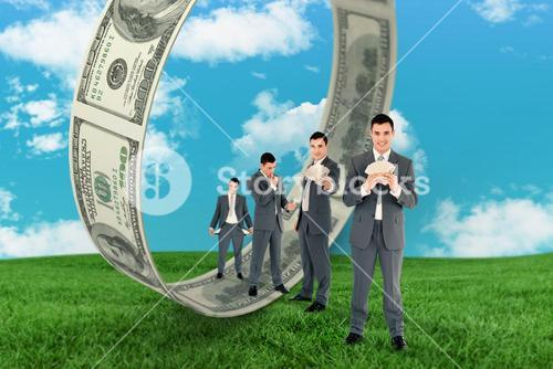Composite image of multiple image of wealthy businessman