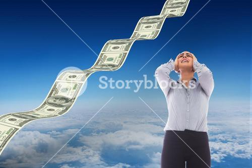 Composite image of desperate businesswoman
