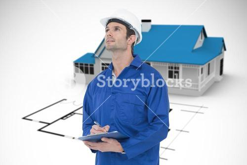 Composite image of supervisor writing notes on clip board