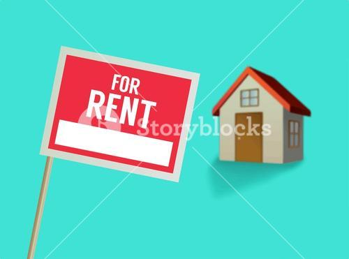 For rent sign and house vector