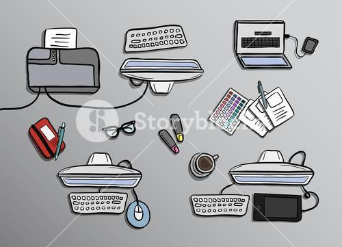 Overhead of office desks vector