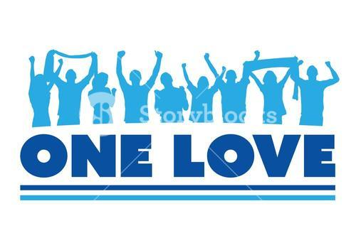 One love with cheering crowd vector