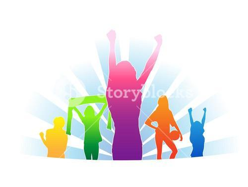 Cheering colourful fans vector