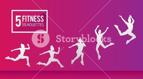 Five fitness silhouettes vector