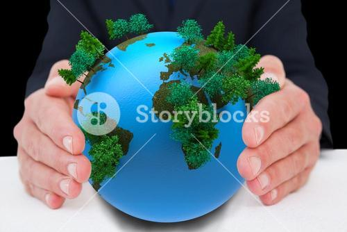 Composite image of businessman with hand out