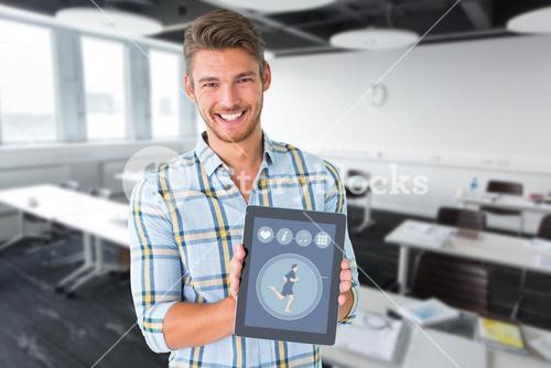 Composite image of young student showing tablet pc