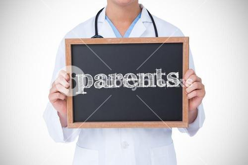Parents against doctor showing little blackboard