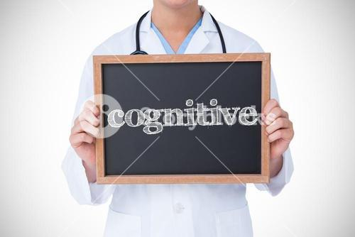 Cognitive against doctor showing little blackboard