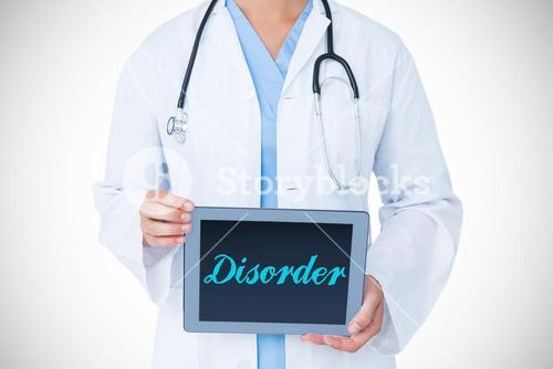 Disorder against doctor showing tablet pc