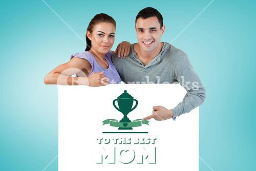 Composite image of young couple presenting advertisement