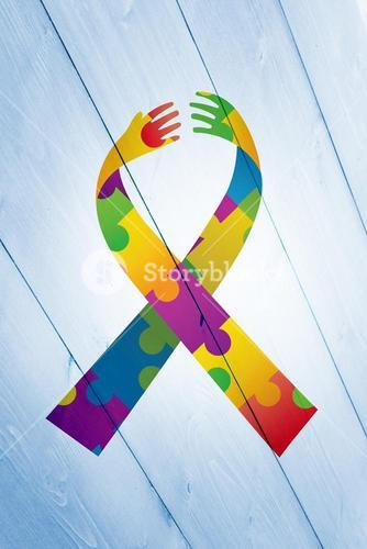 Composite image of autism ribbon