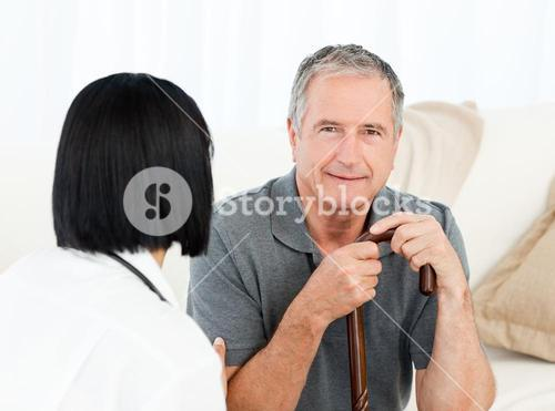 Retired man with his nurse