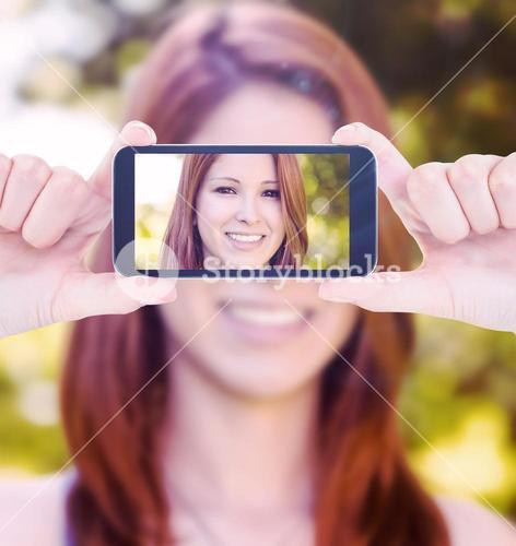 Composite image of hands holding smartphone