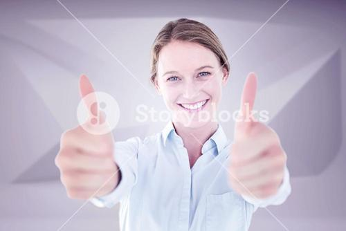 Composite image of smiling businesswoman looking at camera