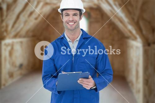 Composite image of confident supervisor writing notes