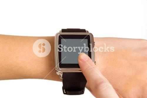 Woman using her smart watch