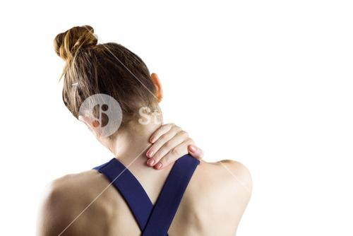 Fit brunette with neck injury
