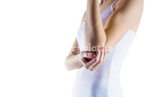 Fit woman with elbow injury