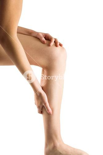 Woman with leg injury