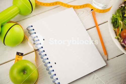 Notepad with indicators of healthy lifestyle