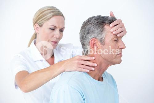 Doctor stretching her patient neck