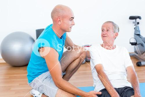Patient speaking with his trainer