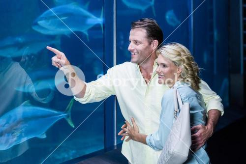 Happy couple pointing a fish tank