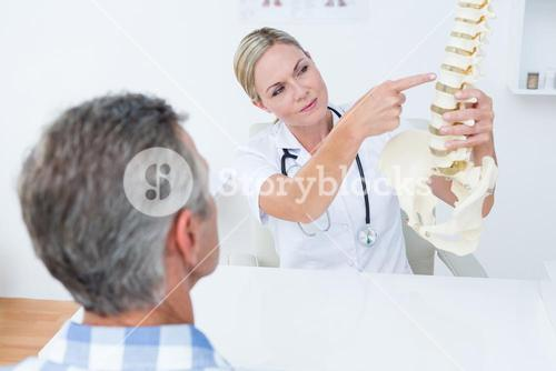 Doctor explaining anatomical spine to her patient