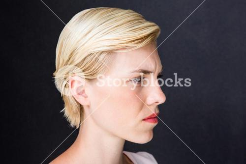 Nervous blonde woman