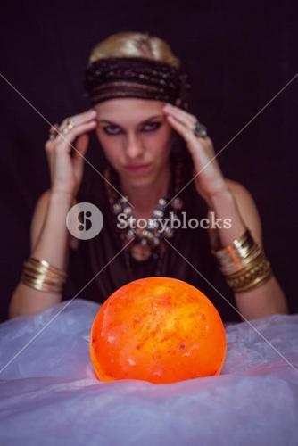Fortune teller forecasting the future