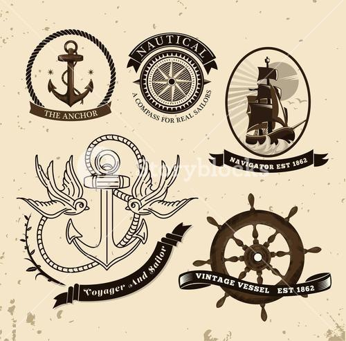 Vintage style nautical theme vector