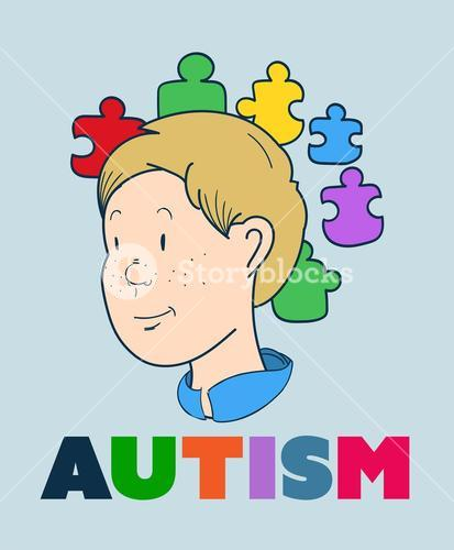 Autism vector with smiling boy