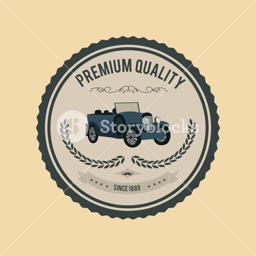 Premium quality badge vector with car