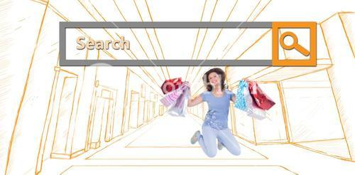 Composite image of excited brunette jumping while holding shopping bags