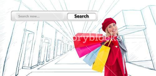 Composite image of blonde in winter clothes holding shopping bags