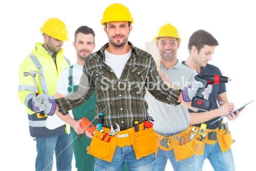 Composite image of handyman wearing tool belt