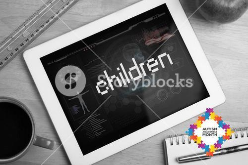 Children against medical biology interface in black