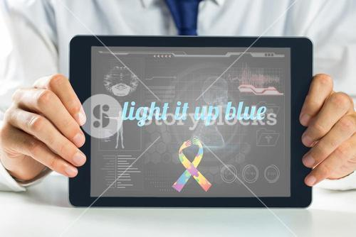 Light it up blue against medical biology interface in black