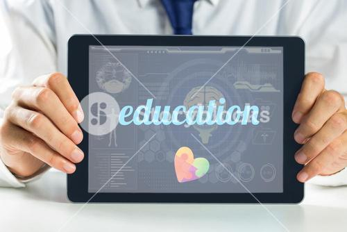 Education against medical biology interface in blue
