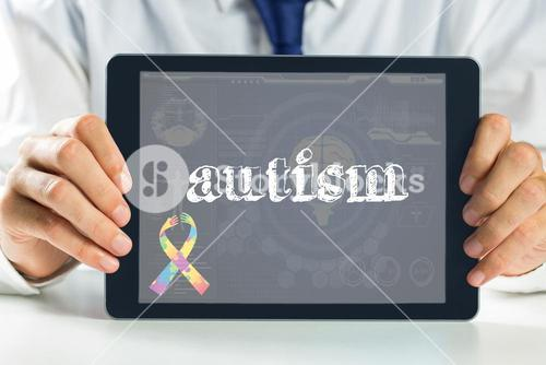 Autism against medical biology interface in blue