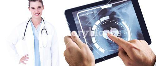 Composite image of man using tablet pc