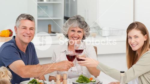 Family drinking wine together