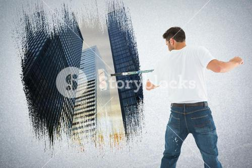 Composite image of man using paint roller on white background