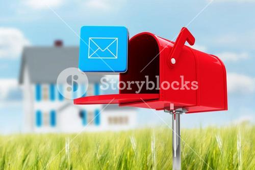 Composite image of red email postbox