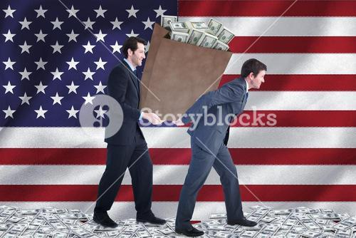Composite image of businessmen carrying bag of dollars