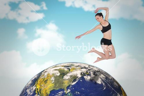 Composite image of full length of a sporty young woman jumping