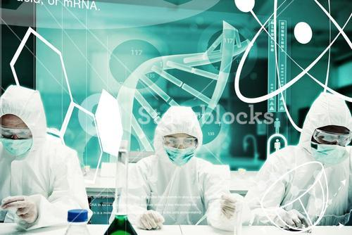 Composite image of scientists working in protective suite with futuristic interface