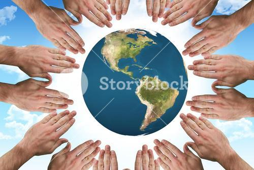 Composite image of circle of hands